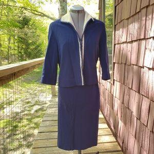 Vintage 1960s Royal Blue Knit Skirt Set